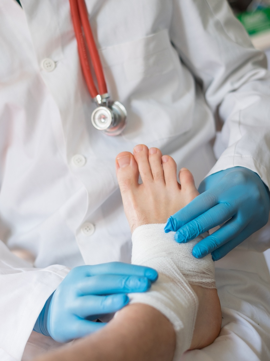 Patient at Doctors for Sprained Ankle